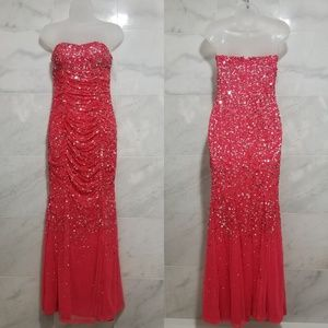 Cache Hot Pink Sequin Strapless Formal